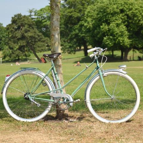 1950's Vintage Peugeot Bicycle right side against tree