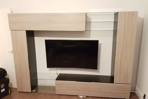 TV media unit assembly and mounting service