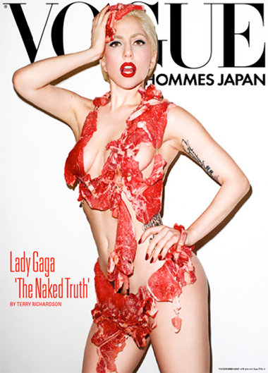 Lady Gaga is on the cover of Vogue Hommes Japan wearing nothing but raw meat