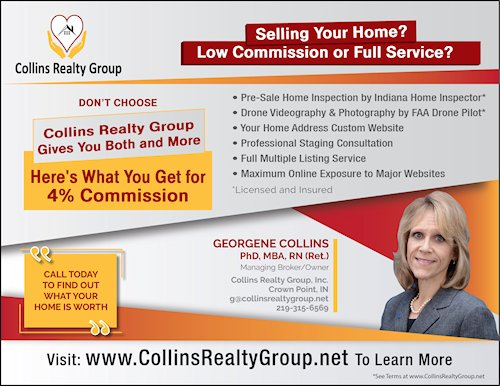 Collins Realty Group Crown Point 4% Commission Ad Image
