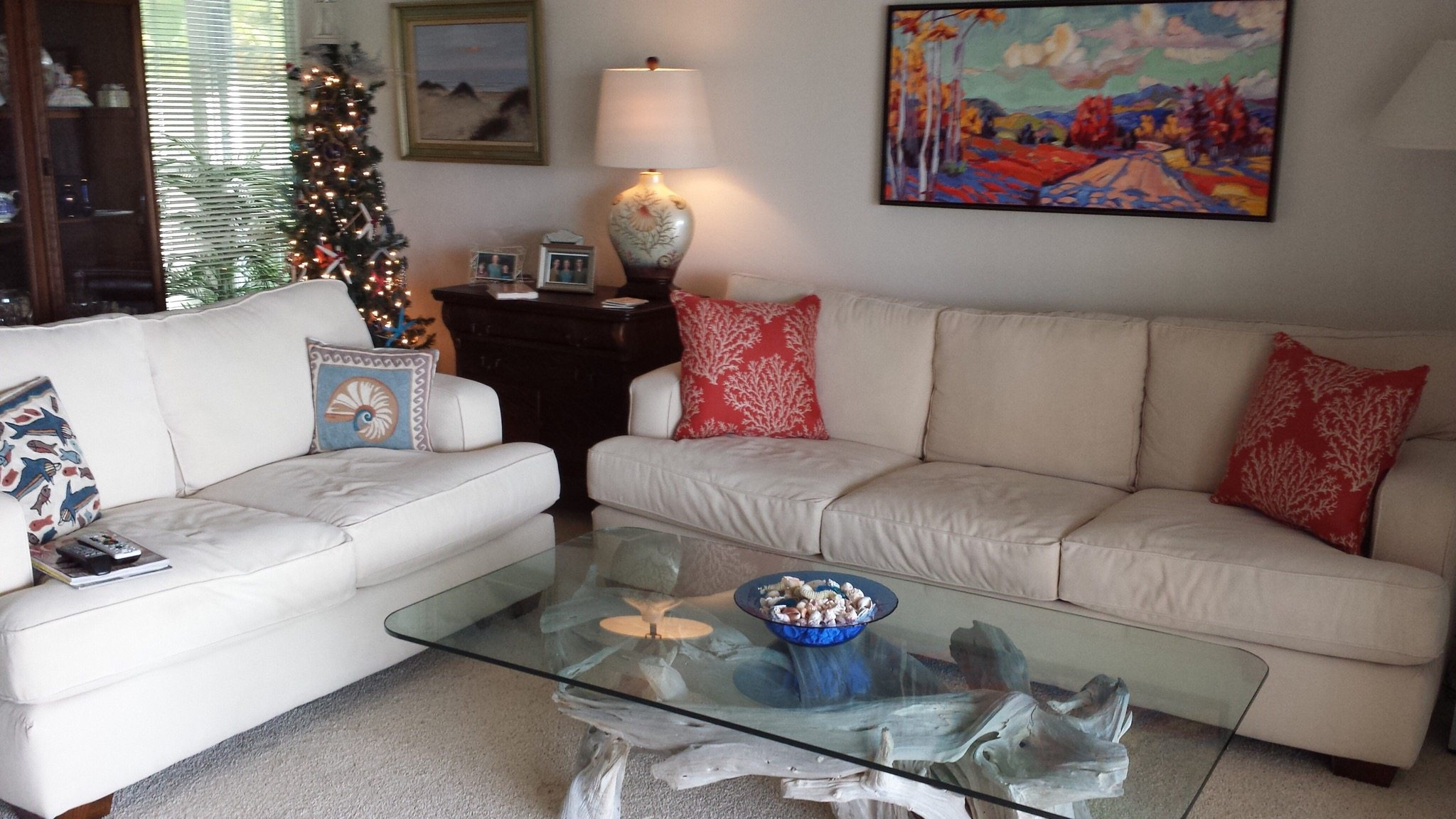 A driftwood coffee table for Sanibel