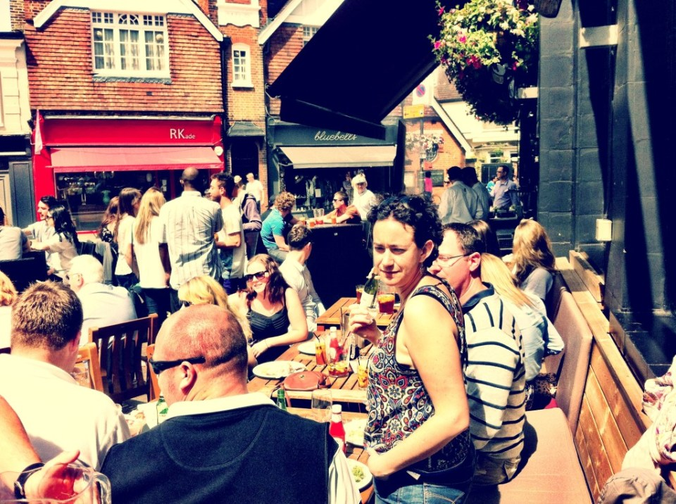 enjoying the sun at the Dog & Fob during the 2013 Wimbledon Championships