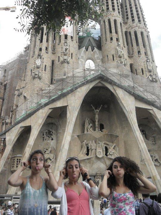Pulling funny faces outside of La Sagrada Familia, Barcelona
