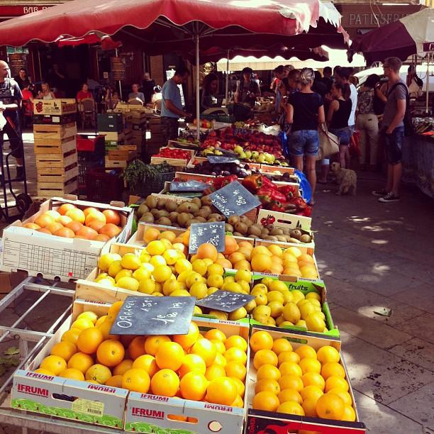 Marché Place Richelme market stalls, Aix en Provence, South France