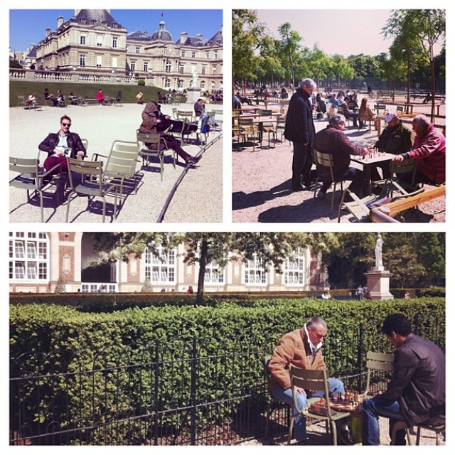 Luxembourg Gardens, Paris - reading a book and playing chess