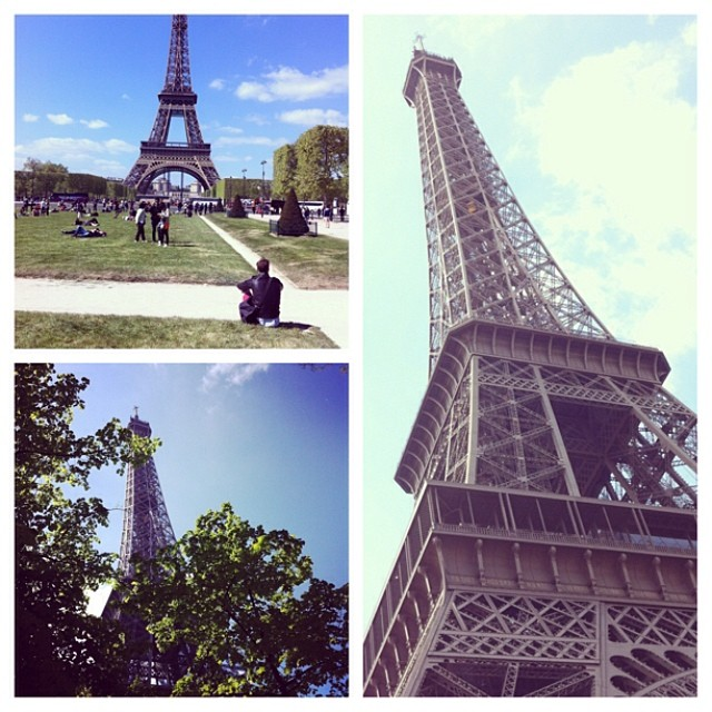 The gardens and tower of Le Eiffel Tower, Paris