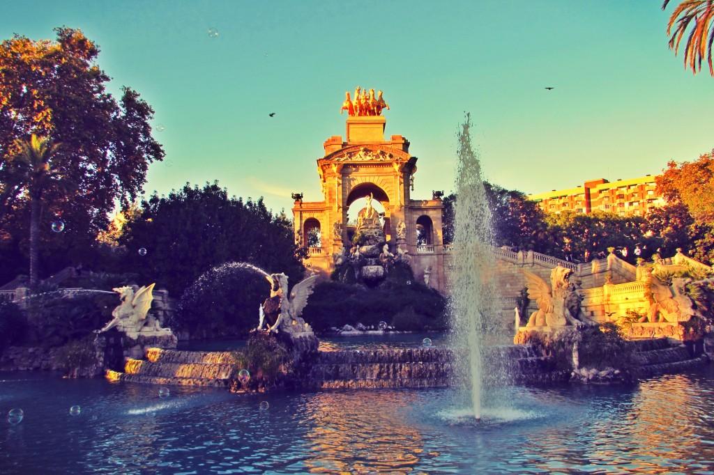 Water fountains in Parc de la Ciutadella in Barcelona