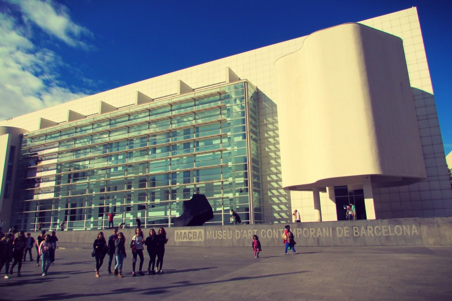 MACBA contemporary art museum in Raval - temporary exhibitions are free on opening nights