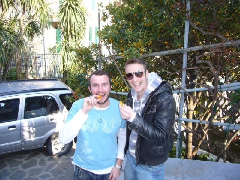 The trip that started everything ~ Me and Ed, somewhere in Italy... enjoy cumquats for the first time ever