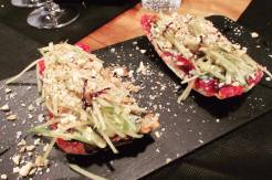 Blue cheese and jam tostadas - the perfect wine companion