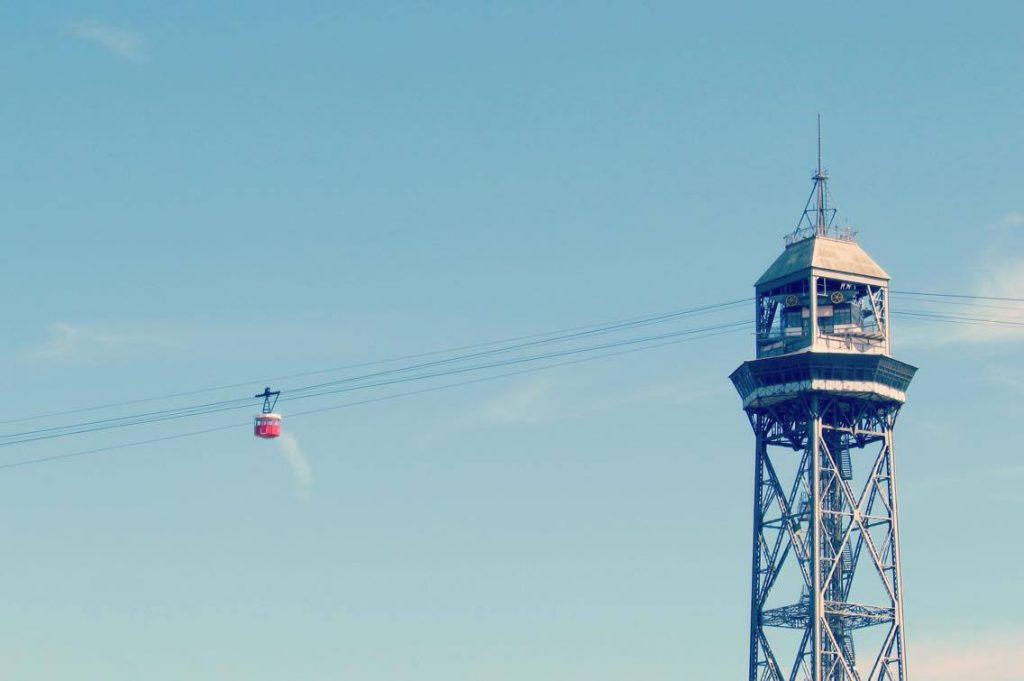 Barcelona's famous cablecar trundling over the port on its way up to Montjuic.