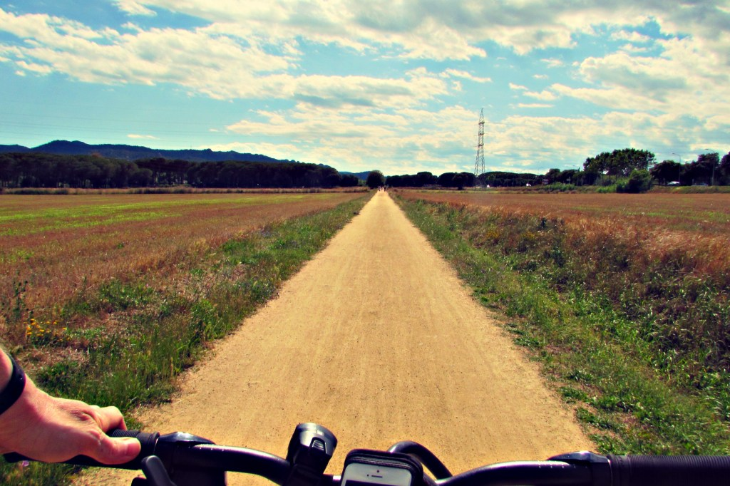 Cycling on the Greenways bike path (Vias Verdes) in Catalonia, Spain