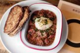 Smoked pork & beans with slow-poached egg and toasted sourdough
