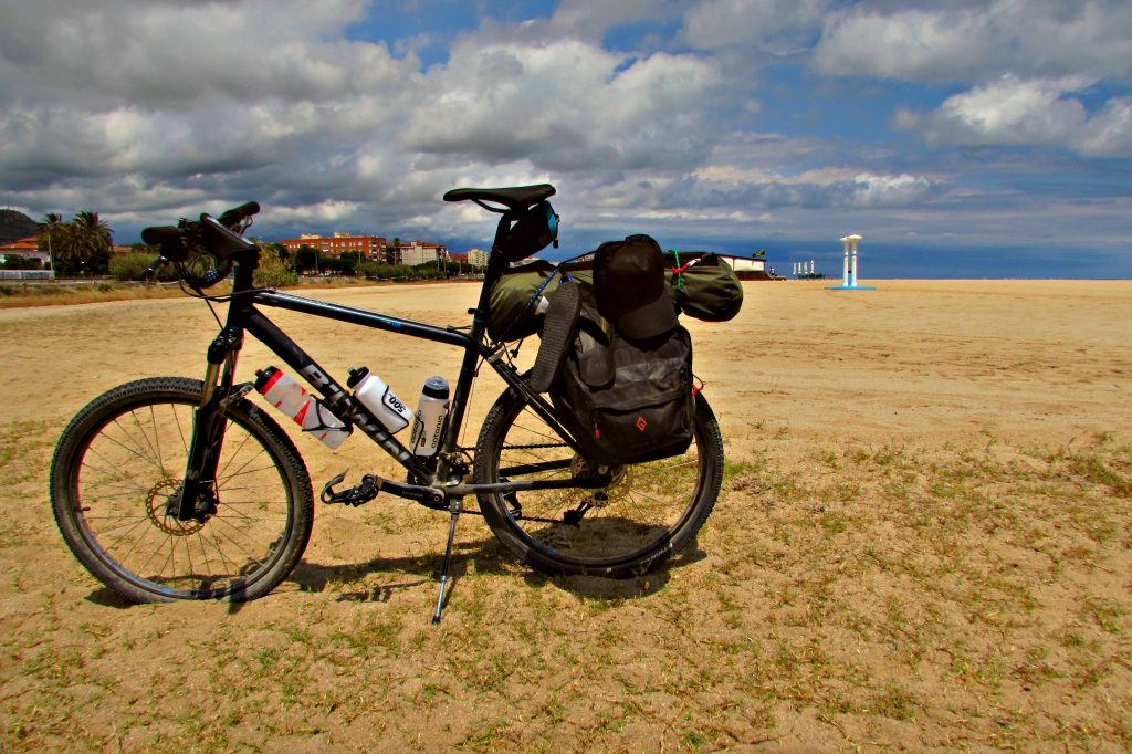 Stuck in the sand whilst cycling along the beach