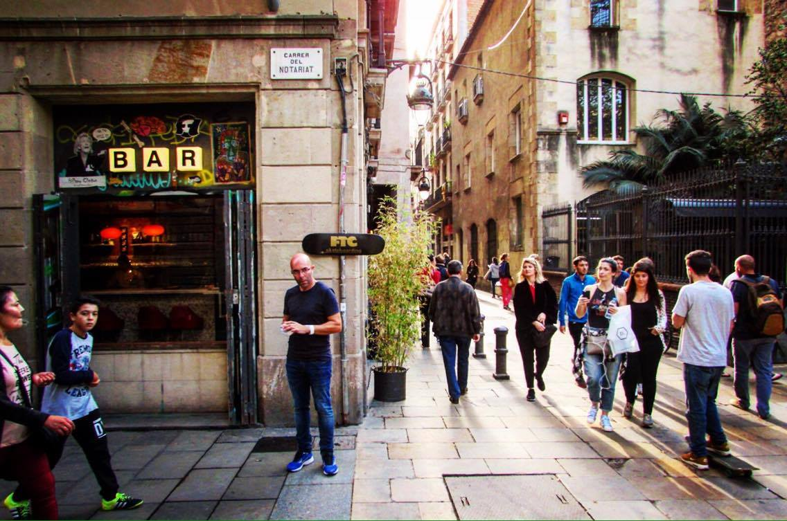 Walking through Raval on the Wanderbeak walking food tour in Barcelona