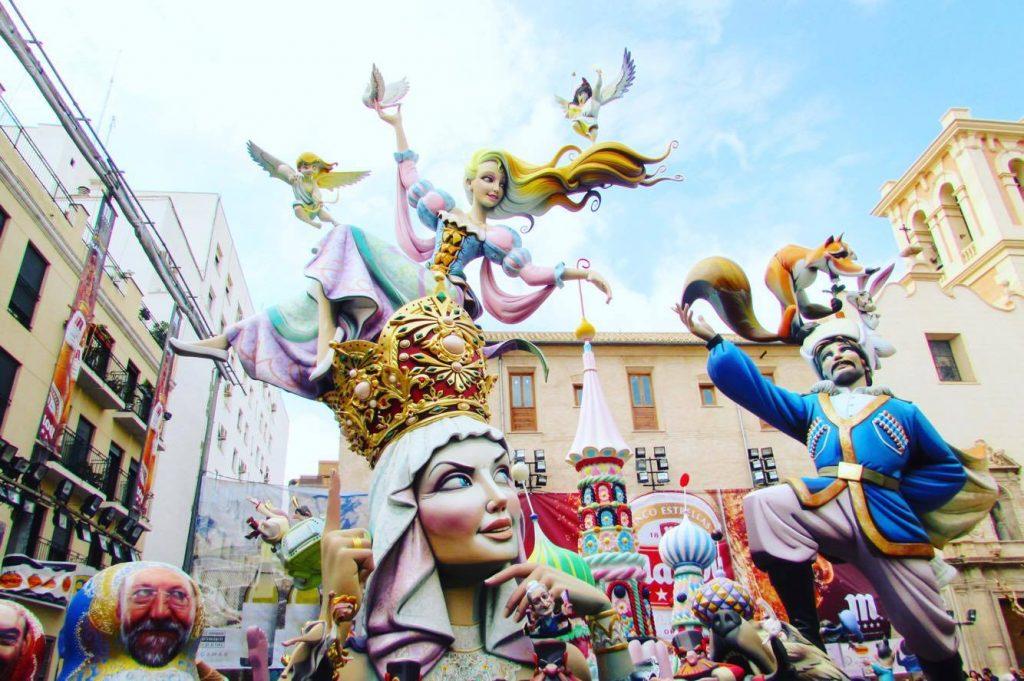 "Giant ""ninots"" at Valencia's Las Fallas festival"