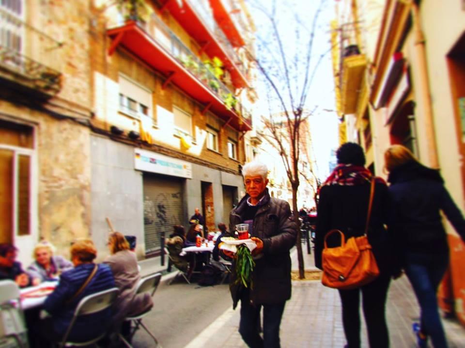 Calcotada street food festival in Barcelona