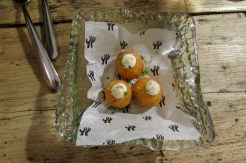 Mano Rota's famous croquettes of yuca and Spanish Idiazabal cheese topped with a zingy citrus mayonnaise
