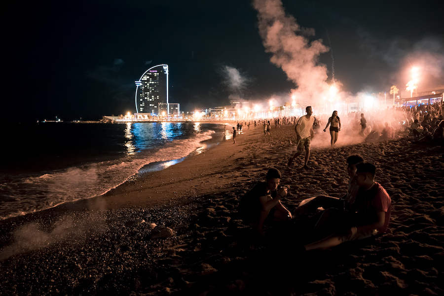 Barcelona San Juan Firework Celebrations on Barceloneta Beach by Ben Holbrook from DriftwoodJournals.com