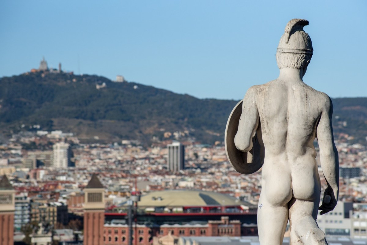 Panoramic views across Barcelona from the MNAC (Palau Nacional Museum of Catalan Art) in Barcelona