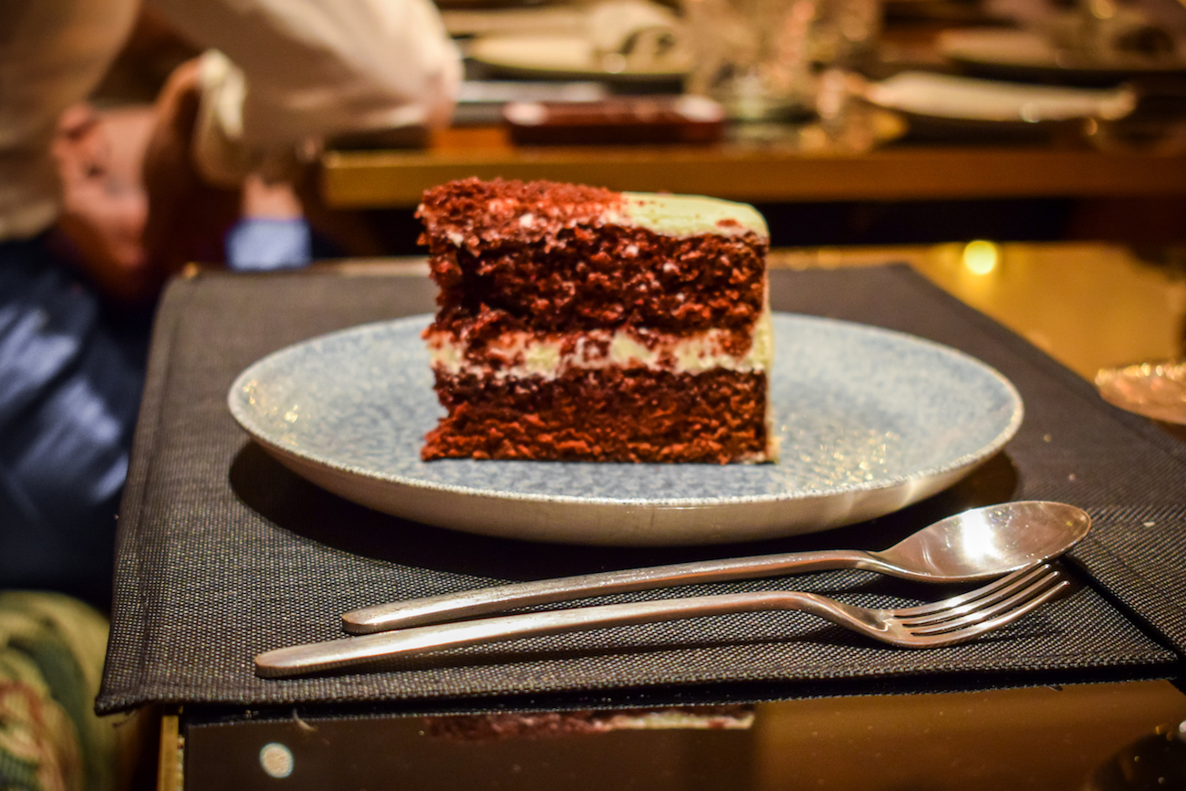 Red velvet cake at Avenida Palace Hotel in Barcelona City Centre - by Ben Holbrook