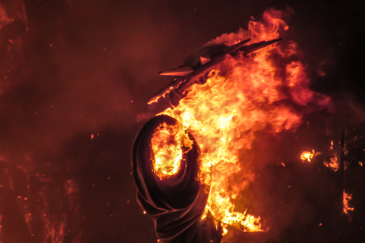 Burning ninots at Valencia's Las Fallas Festival ~ by Ben Holbrook