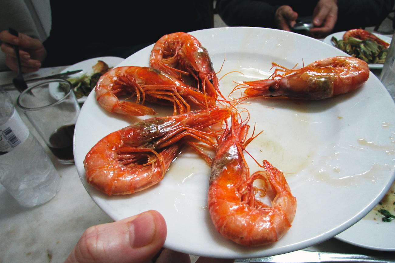Gambas at La Cova Fumada Tapas bar in Barceloneta