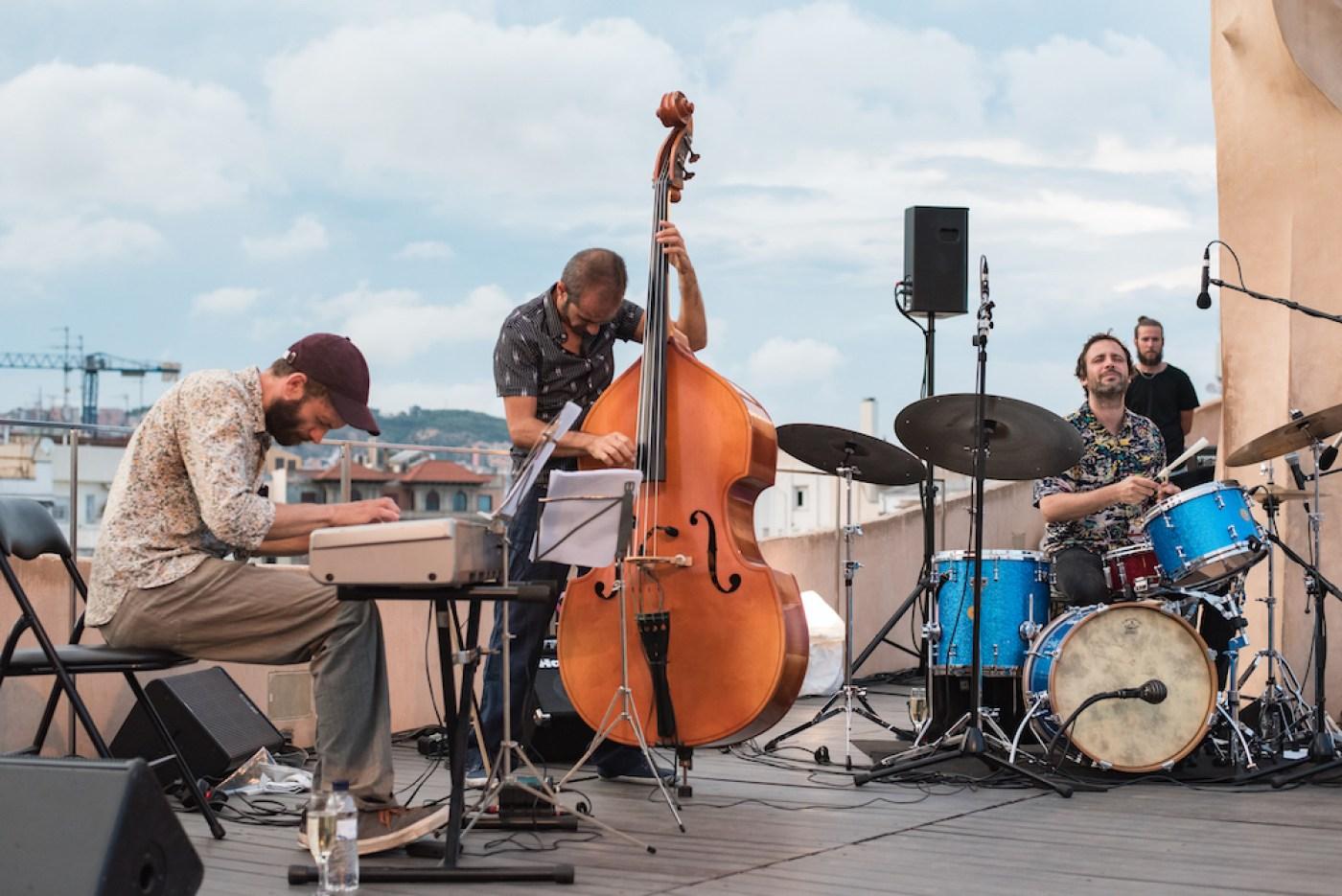 Live jazz music concert on the rooftop terrace of Antoni Gaudi's Casa Mila building in Barcelona