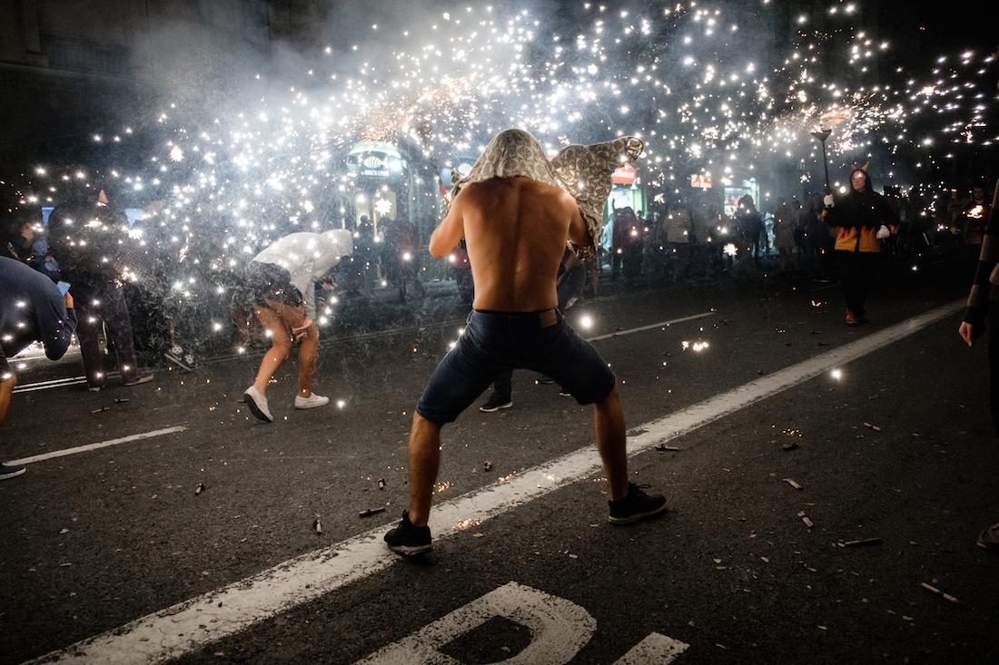 La Merce Correfoc Fire Run Devils with Fire on Via Laietana - by Ben Holbrook from DriftwoodJournals.com