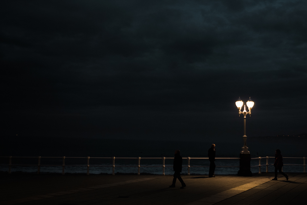Gijon at night, Asturias, northern Spain - by Ben Holbrook from DriftwoodJournals.com
