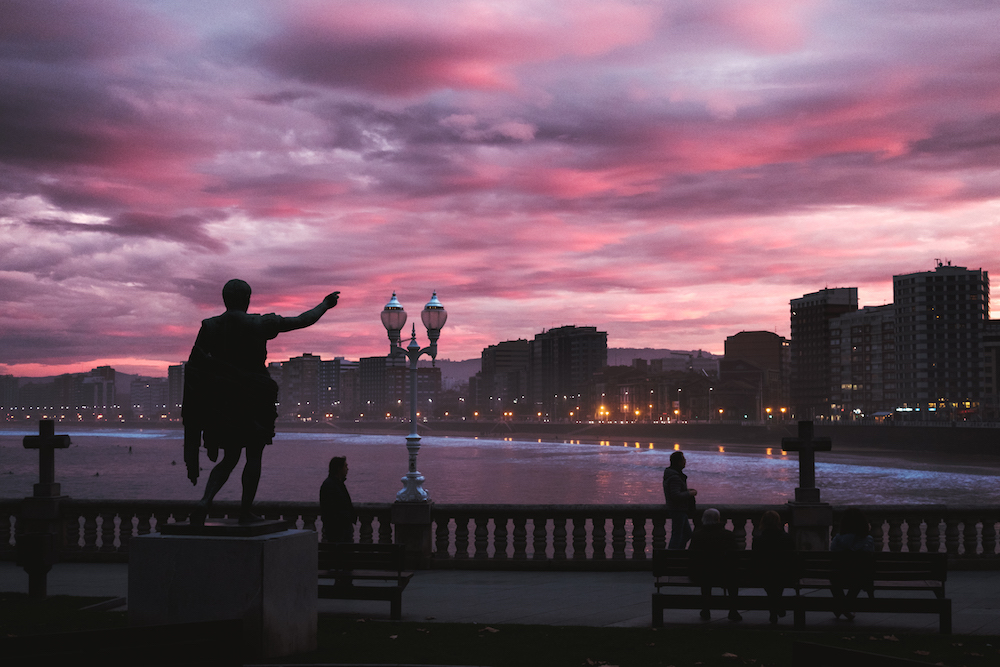 Gijon sunset, Asturias, northern Spain - by Ben Holbrook from DriftwoodJournals.com