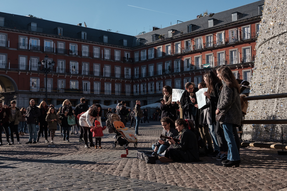 Street Performers Singing in Plaza Mayor, Madrid Street Photography Essay - by Ben Holbrook DriftwoodJournals.com-8949