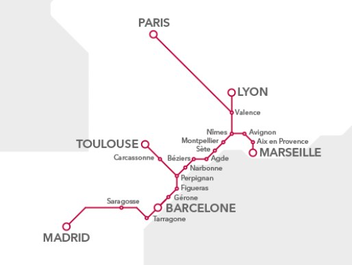 RENFE SNCF Train Routes and Destinations in France and Spain