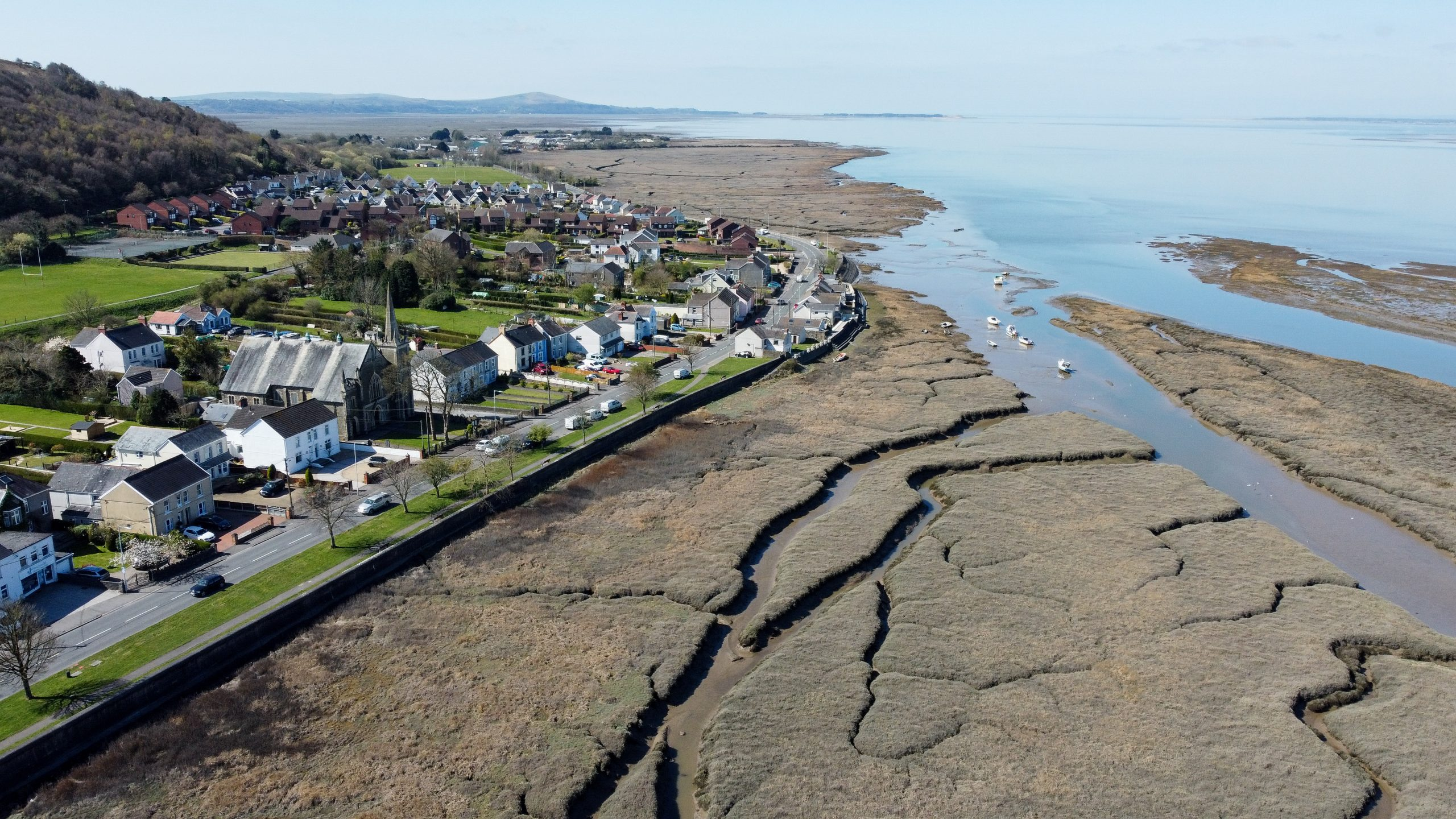 Penclawdd Village and Estuary from Above - by Ben Holbrook DriftwoodJournals.com