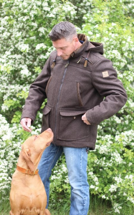 Drilling Jagd- & Outdoorbekleidung Herren Lodenwinterjacke Uller Hirschleder schwarzbraun