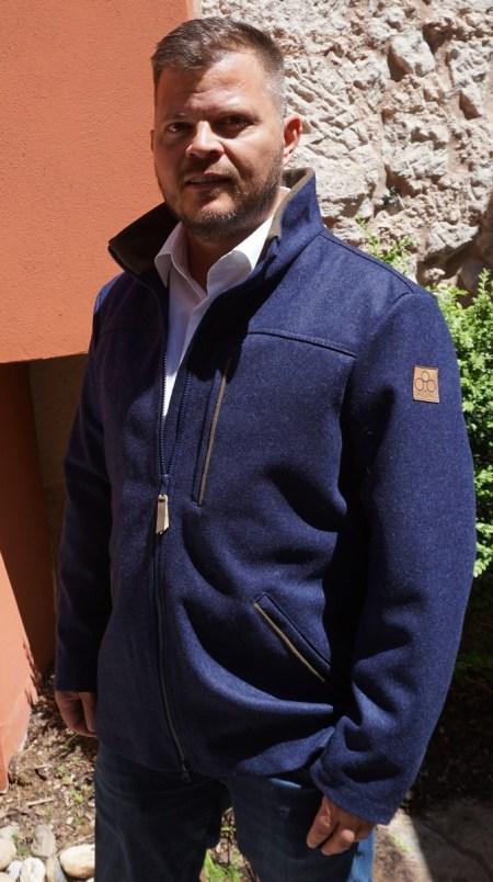 Lodenjacke Waldgeist Classic Marineblau mit olivfarbenem Damhirschleder