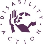 Disability Action logo purple on white