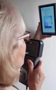 Person using remote hand-held breathalyser