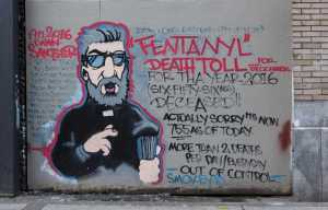 2016: Vancouver's Downtown Eastside neighbourhood, a mural highlighting fentanyl-related drug deaths Credit: Gerry Rousseau/Alamy