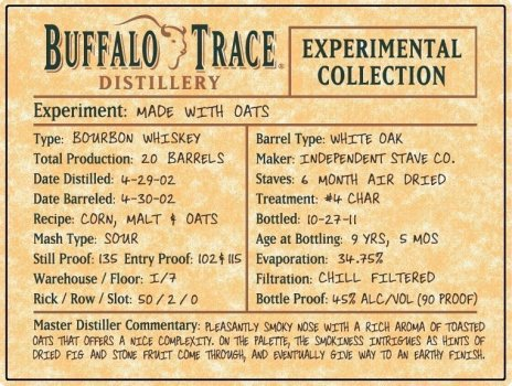 Buffalo Trace Experiment - Oat Bourbon Whiskey