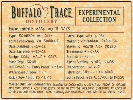 Buffalo Trace Experiment - Oat Bourbon Whiskey