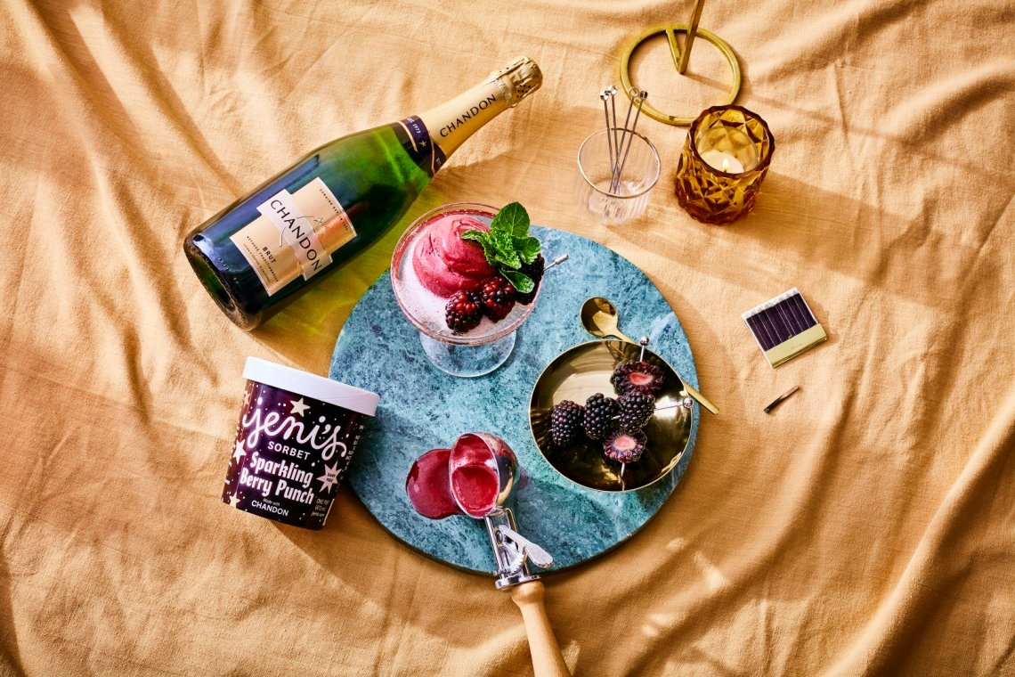 Jeni's Sparkling Berry Punch Sorbet with Chandon