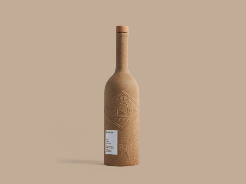 A bottle of Desert Door Back Burn Sotol from Teaxas