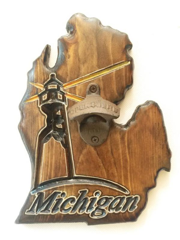 Lighthouse Michigan Bottle Opener - Dark Walnut.psd