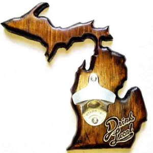 Michigan with Upper Peninsula Bottle Opener