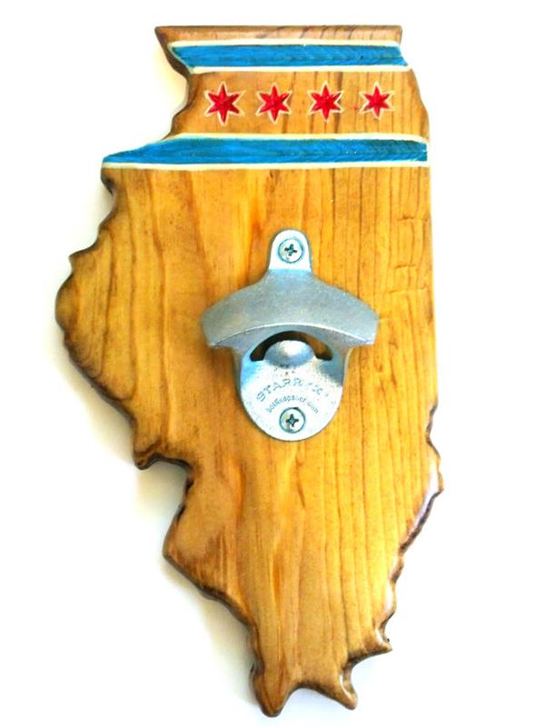 Illinois Bottle Opener - Pecan