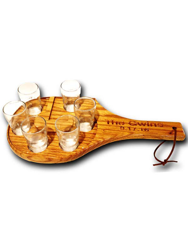 letter shaped tasting tray