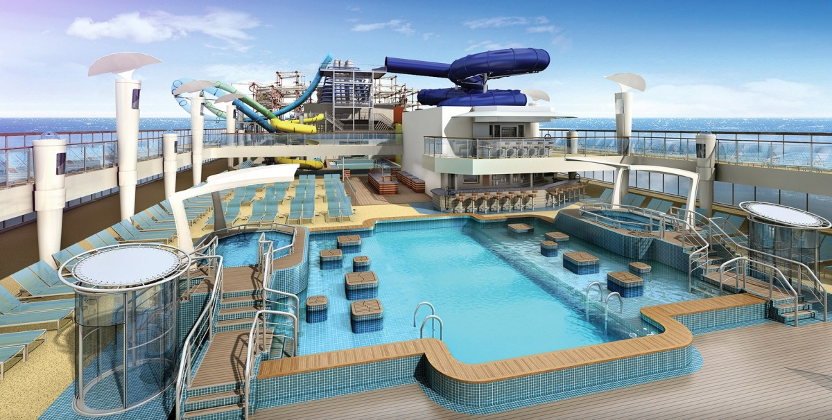 Aqua park and main pool area, as per the brochure. Norwegian Cruise Line. Norwegian Escape. Photo credit: Norwegian Escape