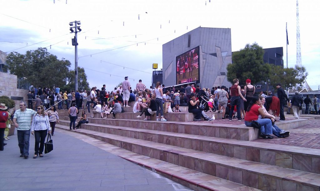 Crowds at Federation Square before the Melbourne Cup