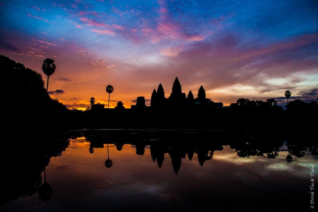Breathtaking sunrise at Angkor Wat